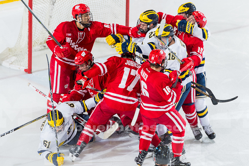 The University of Michigan men's ice hockey team,4-2, loss to Wisconsin at Yost Ice Arena in Ann Arbor, Mich., on Feb. 03, 2018.