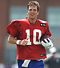 Eli Manning #10, New York Giants quarterback, does wind sprints during training camp at Quest Diagnostics Training Center in East Rutherford, NJ on Friday, Aug. 3, 2018.