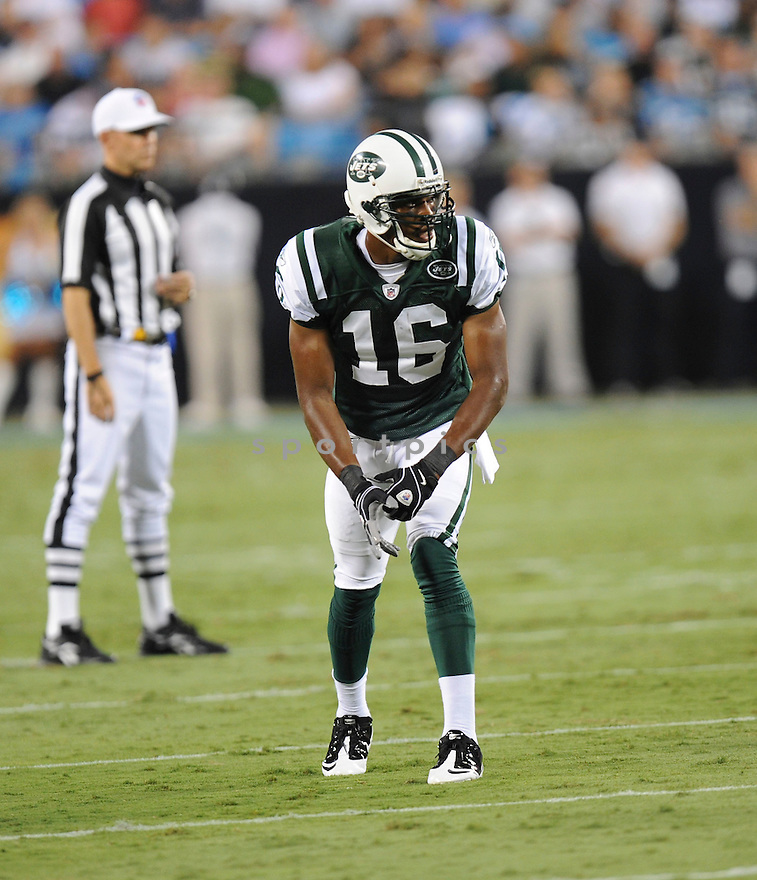 BRAD SMITH, of the New York Jets in action during the Jets game against the Carolina Panthers  at Bank of America Stadium in Charlotte, N.C.  on August 21, 2010.  The Jets beat the Panthters 9-3 in the second week of preseason games...