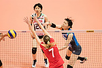 Wing spiker Risa Shinnabe of Japan (R) spikes the ball during the FIVB Volleyball World Grand Prix match between Japan vs Russia on 23 July 2017 in Hong Kong, China. Photo by Marcio Rodrigo Machado / Power Sport Images