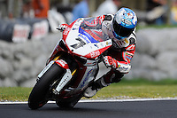 PHILLIP ISLAND, 26 FEBRUARY - Carlos Checa (ESP) riding the Ducati 1098R (7) of the Althea Racing Team during Superpole qualifying for round one of the 2011 FIM Superbike World Championship at Phillip Island, Australia. (Photo Sydney Low / syd-low.com)