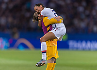 PARIS,  - JUNE 28: Ashlyn Harris #18 celebrates with Christen Press #23 during a game between France and USWNT at Parc des Princes on June 28, 2019 in Paris, France.