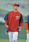 12 October 2012: Washington Nationals outfielder Bryce Harper warms up prior to Postseason Playoff Game 5 of the National League Divisional Series against the St. Louis Cardinals at Nationals Park in Washington, DC. The Cardinals rallied with four runs in the 9th inning to defeat the Nationals 9-7; thus winning the NLDS and moving on to the NL Championship Series. Mandatory Credit: Ed Wolfstein Photo