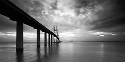 Stormy conditions over the Sidney Lanier Bridge in Brunswick, Georgia.