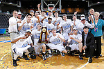 24 MAR 2012:  Western Washington University players celebrate after the game against the University of Montevallo during the Division II Men's Basketball Championship held at the Bank of Kentucky Center in Highland Heights, KY. Western Washington won the title 72-65.  Joe Robbins/NCAA Photos