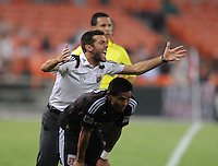 DC United Head Coach Ben Olsen argues with the referee after a call.  New England Revolution defeated DC United 1-0,at RFK Stadium, Wednesday July 20, 2011.