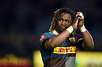 Marland Yarde of Harlequins acknowledges the crowd after the match. Aviva Premiership match, between Harlequins and Wasps on April 28, 2017 at the Twickenham Stoop in London, England. Photo by: Patrick Khachfe / JMP