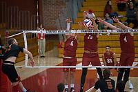 STANFORD, CA - December 30, 2017: Leo Henken, Kevin Rakestraw, Eric Beatty, Jaylen Jasper at Burnham Pavilion. The Stanford Cardinal defeated the Calgary Dinos 3-1.