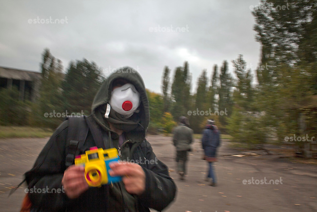 UKRAINE, Chernobyl, 2010/10/6<br /> REGULAR TOURISM - One of these &quot;regular&quot; tourists in the abandoned ghost town Pripyat. 7000 tourists visit Chernobyl every year,  Chernobyl, October 6, 2010. <br /> &copy; Vaclav Vasku/EST&amp;OST