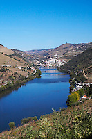 douro river and steep vineyards  view to pinhao from winery quinta do seixo sandeman douro portugal