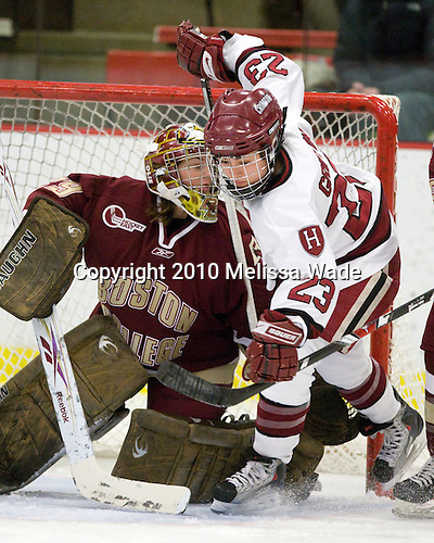 Corinne Boyles (BC - 29), Randi Griffin (Harvard - 23) - The Harvard University Crimson defeated the Boston College Eagles 5-0 in their Beanpot semi-final game on Tuesday, February 2, 2010 at the Bright Hockey Center in Cambridge, Massachusetts.