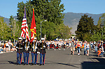 Marine Corps color guard leads the Carson Valley Days Parade on Main Street in Minden, Nevada