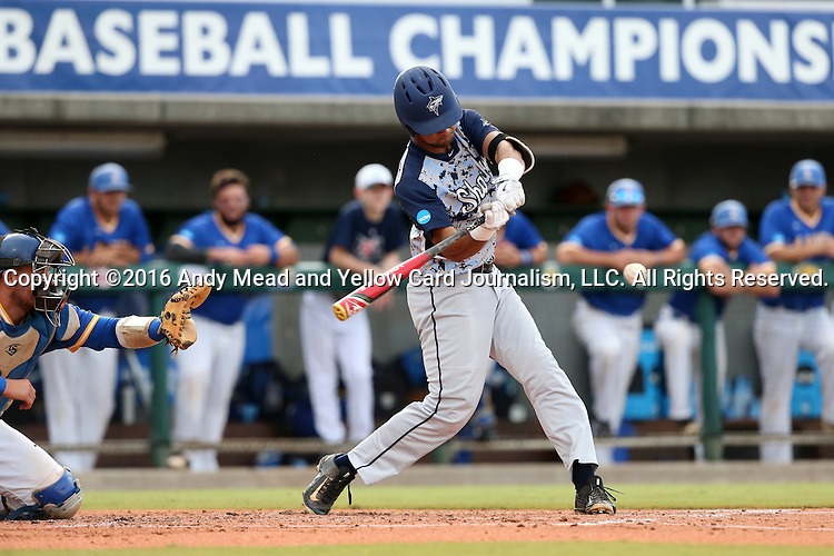 31 May 2016: Nova Southeastern's Sebastian Diaz. The Nova Southeastern University Sharks played the Lander University Bearcats in Game 8 of the 2016 NCAA Division II College World Series  at Coleman Field at the USA Baseball National Training Complex in Cary, North Carolina. Nova Southeastern won the game 12-1.