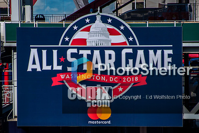 6 October 2017: The Washington Nationals remind fans with the upcoming 2018 All-Star Game Sign in the outfield prior to the first game of the NLDS against the Chicago Cubs at Nationals Park in Washington, DC. The Cubs shut out the Nationals 3-0 to take a 1-0 lead in their best of five Postseason series. Mandatory Credit: Ed Wolfstein Photo *** RAW (NEF) Image File Available ***