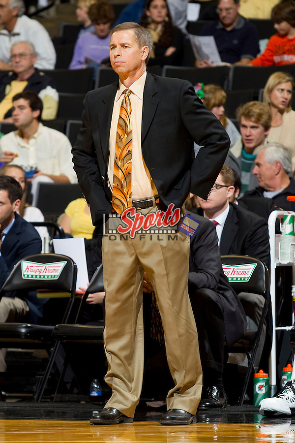 Wake Forest Demon Deacons head coach Jeff Bzdelik during the game against the UNC-Wilmington Seahawks at the LJVM Coliseum on December 21, 2011 in Winston-Salem, North Carolina.  The Demon Deacons defeated the Seahawks 87-78.  (Brian Westerholt / Sports On Film)