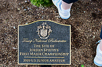 A plaque under a tree near the first tee honoring Jordan Spieth during Saturday's third round of the 72nd U.S. Women's Open Championship, at Trump National Golf Club, Bedminster, New Jersey. 7/15/2017.<br /> Picture: Golffile | Ken Murray<br /> <br /> <br /> All photo usage must carry mandatory copyright credit (&copy; Golffile | Ken Murray)