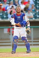 Wellington Castillo takes charge behind the plate at Smokies Park in Sevierville, TN May 21, 2009 (Photo by Tony Farlow/ Four Seam Images)