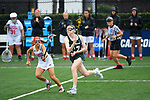 TAMPA, FL - MAY 20: Kelly Gafney #27 of the Le Moyne Dolphins runs with the ball against the Florida Southern Mocs during the Division II Women's Lacrosse Championship held at the Naimoli Family Athletic and Intramural Complex on the University of Tampa campus on May 20, 2018 in Tampa, Florida. Le Moyne defeated Florida Southern 16-11 for the national title. (Photo by Jamie Schwaberow/NCAA Photos via Getty Images)