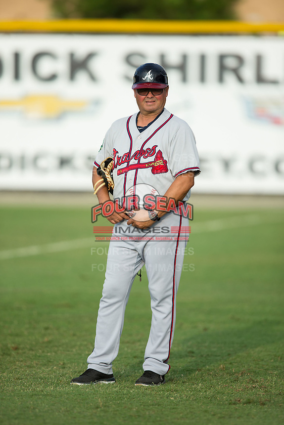 """Danville Braves coach Juan """"Porky"""" Lopez prior to the game against the Burlington Royals at Burlington Athletic Stadium on August 14, 2017 in Burlington, North Carolina.  The Royals defeated the Braves 9-8 in 10 innings.  (Brian Westerholt/Four Seam Images)"""