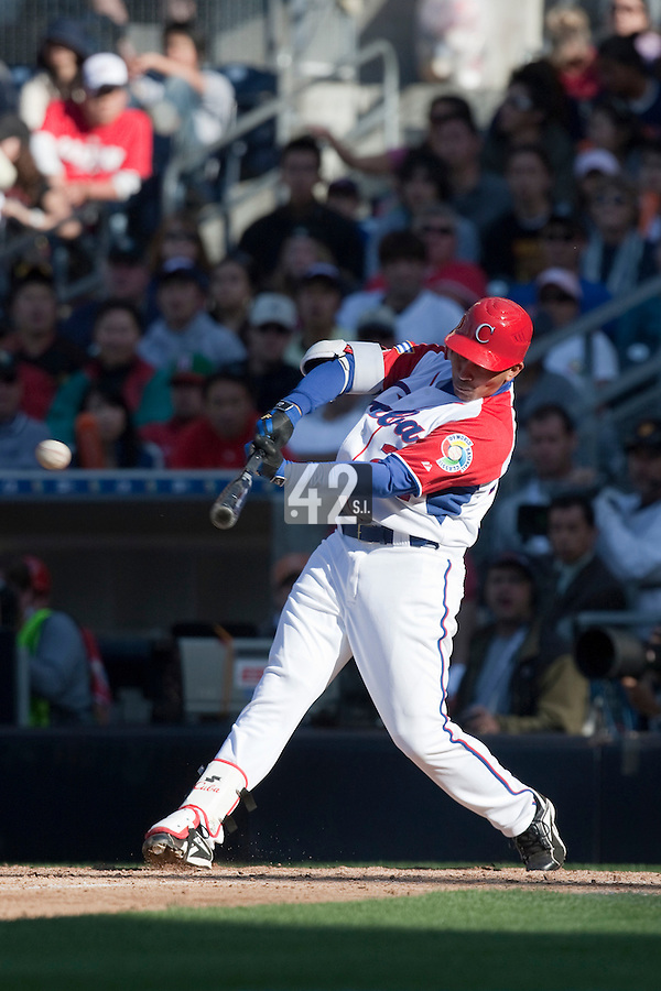 15 March 2009: #24 Frederich Cepeda of Cuba hits the ball during the 2009 World Baseball Classic Pool 1 game 1 at Petco Park in San Diego, California, USA. Japan wins 6-0 over Cuba.