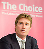Tristram Hunt MP, Labour's Shadow Secretary of State for Education delivers a speech as part of Labour's summer campaign on The Choice facing the country between Labour and the Conservatives on education at Microsoft, London, Great Britain  18th August 2014.<br />