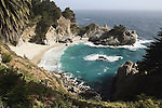 80 foot waterfall onto an inaccessable beach on the Big Sur coast of California.<br />
