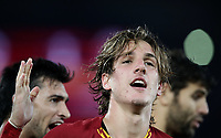 Football, Serie A: AS Roma - AC Milan, Olympic stadium, Rome, October 27, 2019. <br /> Roma's Nicolò Zaniolo (c) celebrates after scoring with his teammates during the Italian Serie A football match between Roma and Milan at Olympic stadium in Rome, on October 27, 2019. <br /> UPDATE IMAGES PRESS/Isabella Bonotto