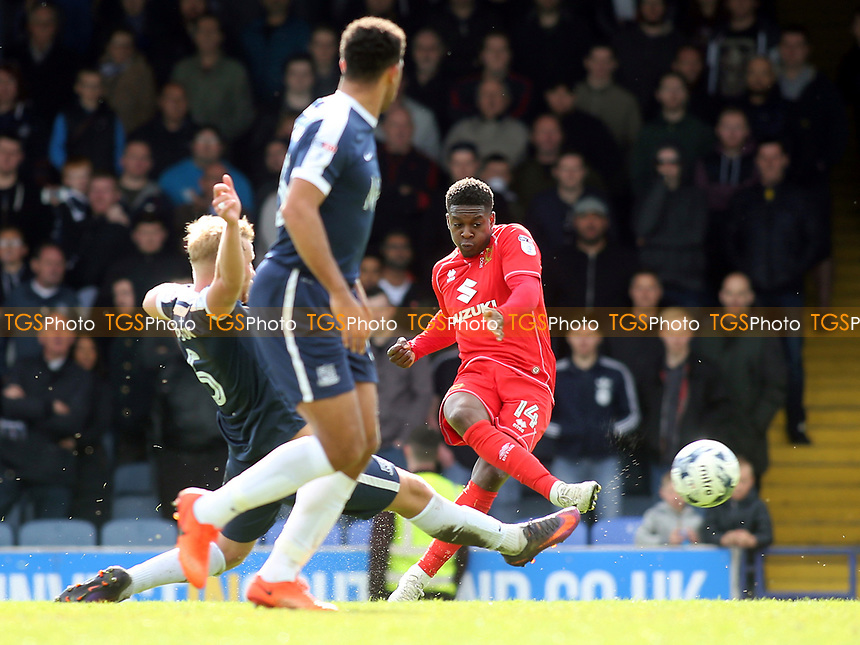 Kieran Agard of MK Dons takes a shot at the Southend goal during Southend United vs MK Dons, Sky Bet EFL League 1 Football at Roots Hall on 17th April 2017