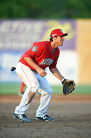 Auburn Doubledays third baseman Jake Jefferies (10) during a game against the Mahoning Valley Scrappers on June 19, 2016 at Falcon Park in Auburn, New York.  Mahoning Valley defeated Auburn 14-3.  (Mike Janes/Four Seam Images)