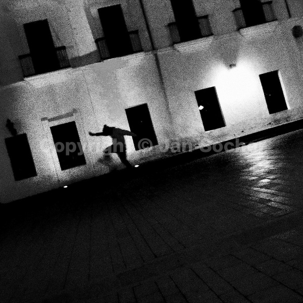 A Colombian skateboard rider jumps down the stairs in front of an old colonial house on the main plaza in Popayán, Colombia, 30 March 2014.