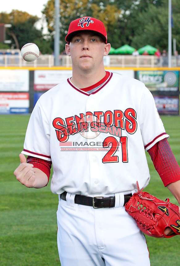 September 3, 2009:  Pitcher Drew Storen of the Harrisburg Senators before a game at Metro Bank Park in Harrisburg, PA.  The Harrisburg Senators are the Eastern League Double-A affiliate of the Washington Nationals, who took Storen in the 1st round of the MLB draft.  Photo by:  Will Bentzel/Four Seam Images