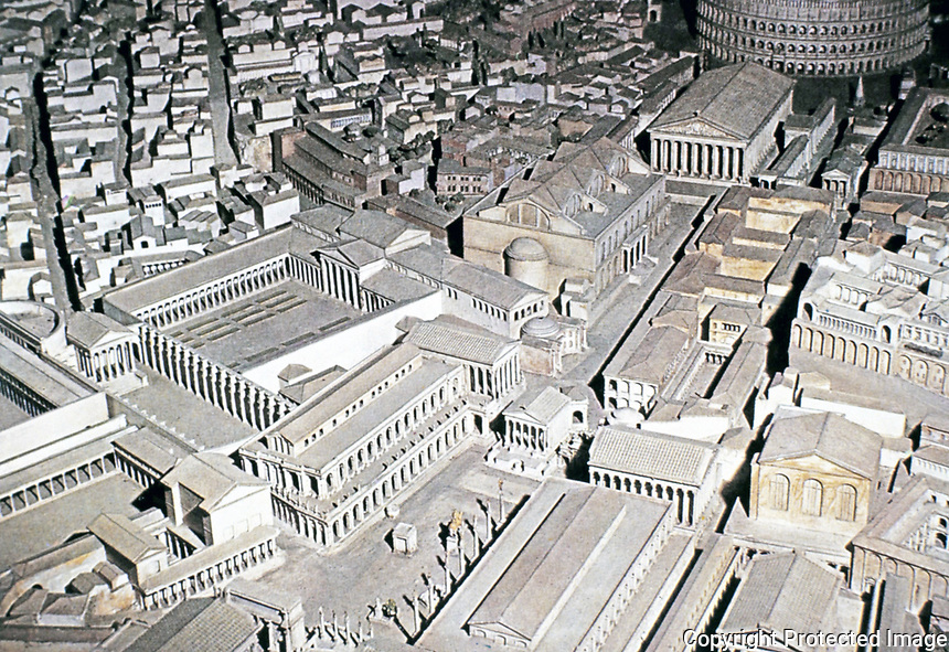 Aerial view reconstruction of the Roman Forum, Rome Italy