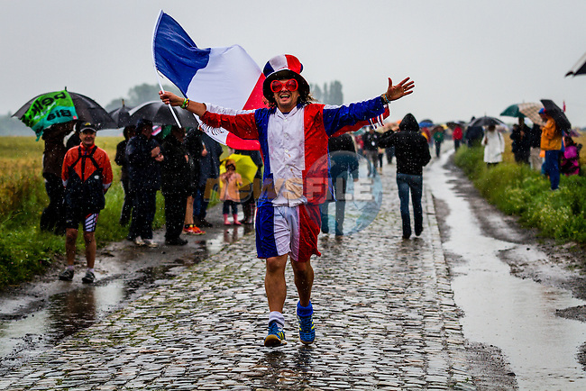 France Fan, Tour de France, Stage 5: Ypres > Arenberg Porte du Hainaut, UCI WorldTour, 2.UWT, Wallers, France, 9th July 2014, Photo by Thomas van Bracht / Peloton Photos