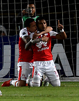 BOGOTÁ - COLOMBIA, 23-10-2018: Wilson Morelo (Der.), jugador de Independiente Santa Fe (COL), celebra el gol de su equipo a Deportivo Cali (COL), durante partido de ida entre Independiente Santa Fe (COL) y Deportivo Cali (COL), de los cuartos de final, S1 por la Copa Conmebol Sudamericana 2018, en el estadio Nemesio Camacho El Campin, de la ciudad de Bogotá. / Wilson Morelo (R), player of Independiente Santa Fe (COL), celebrates the fourth goal of his team to Deportivo Cali (COL), during a match of the first leg between Independiente Santa Fe (COL) and Deportivo Cali (COL), of the quarterfinals, S1 for the Conmebol Sudamericana Cup 2018 in the Nemesio Camacho El Campin stadium in Bogota city. Photo: VizzorImage / Luis Ramírez / Staff.