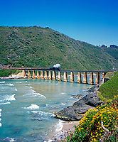 ZAF, Suedafrika, Garden Route, Wilderness: Outeniqua Choo-Tjoe Schmalspurbahn auf Bruecke ueber den Kaaimans River | ZAF, South Africa, Garden Route, Wilderness: Outeniqua Choo-Tjoe train crossing bridge across Kaaimans River