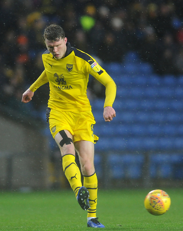 Oxford United's Rob Dickie<br /> <br /> Photographer Kevin Barnes/CameraSport<br /> <br /> The EFL Sky Bet League One - Oxford United v Blackpool - Saturday 15th December 2018 - Kassam Stadium - Oxford<br /> <br /> World Copyright © 2018 CameraSport. All rights reserved. 43 Linden Ave. Countesthorpe. Leicester. England. LE8 5PG - Tel: +44 (0) 116 277 4147 - admin@camerasport.com - www.camerasport.com