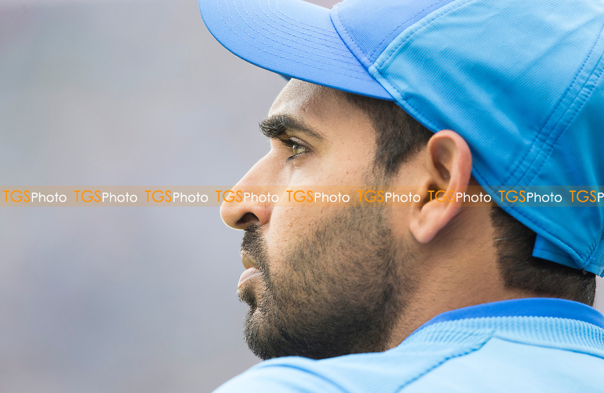Bhuvneshwar Kumar (India) during India vs New Zealand, ICC World Cup Semi-Final Cricket at Old Trafford on 9th July 2019