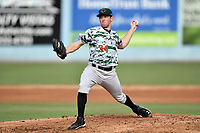 Augusta GreenJackets starting pitcher Domenic Mazza (34) delivers a pitch during a game against the Asheville Tourists at McCormick Field on July 15, 2017 in Asheville, North Carolina. The Tourists defeated the GreenJackets 2-1. (Tony Farlow/Four Seam Images)