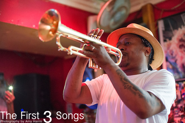 Kermit Ruffins performs at Bullet's Sports Bar in New Orleans, LA.
