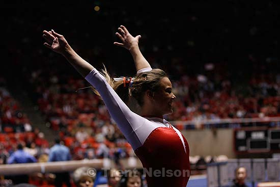 Ashley Postell competing on the vault, scoring a 9.875, Utah vs. Florida, women's college gymnastics Friday night at the Huntsman Center.