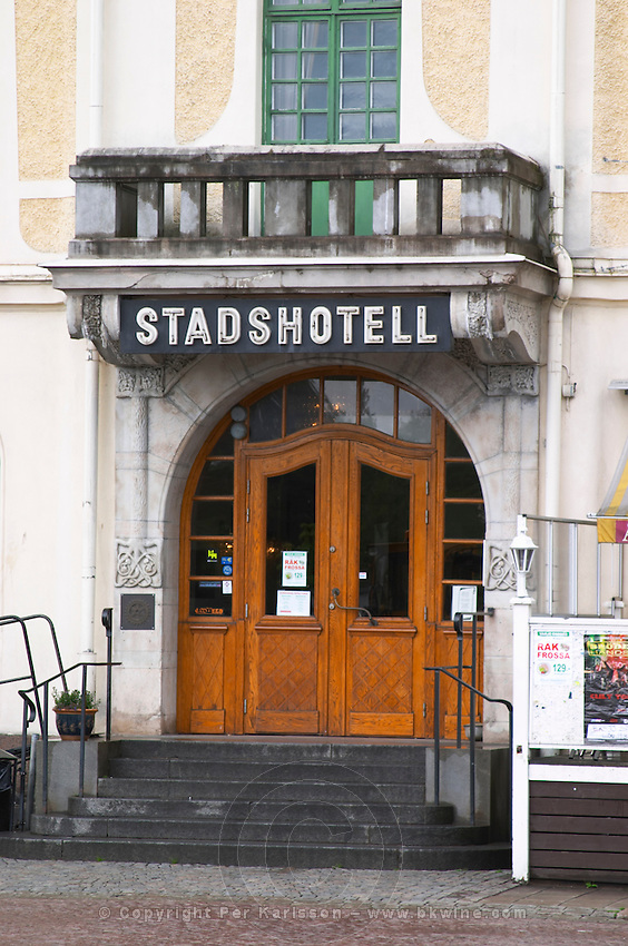 The entrance to the stadshotell, the town hotel. Eksjo town. Smaland region. Sweden, Europe.