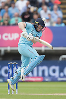 Eoin Morgan (England) gets tucked up by  a short delivery during Australia vs England, ICC World Cup Semi-Final Cricket at Edgbaston Stadium on 11th July 2019