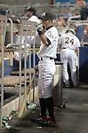 Ichiro Suzuki (Marlins),<br /> APRIL 8, 2015 - MLB :<br /> Ichiro Suzuki of the Miami Marlins waits to bat in the dugout during the Major League Baseball game against the Atlanta Braves at Marlins Park in Miami, Florida, United States. (Photo by AFLO)