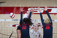 STANFORD, CA - October 14, 2016: Kathryn Plummer,Jenna Gray at Maples Pavilion. The Arizona Wildcats defeated the Cardinal 3-1.