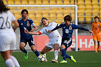 Ferns&rsquo; Amber Hearn and Japan&rsquo;s Rin Sumida in action during the  International Football - Football Ferns v Japan  at Westpac Stadium, Wellington, New Zealand on Sunday 10 June 2018.<br /> Photo by Masanori Udagawa. <br /> www.photowellington.photoshelter.com