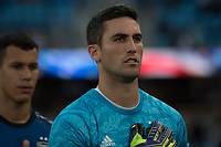 San Jose, CA - Tuesday June 11, 2019: Andrew Tarbell #28 during the National Anthem before the US Open Cup match between the San Jose Earthquakes and Sacramento Republic FC at Avaya Stadium.