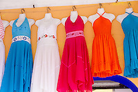 Dresses for sale in the Cozumel shopping district.<br /> <br /> Canon EOS 5D Mk II, 24-105L lens