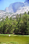 Mirror Lake surrounded by the mountains in Yosemite National Park