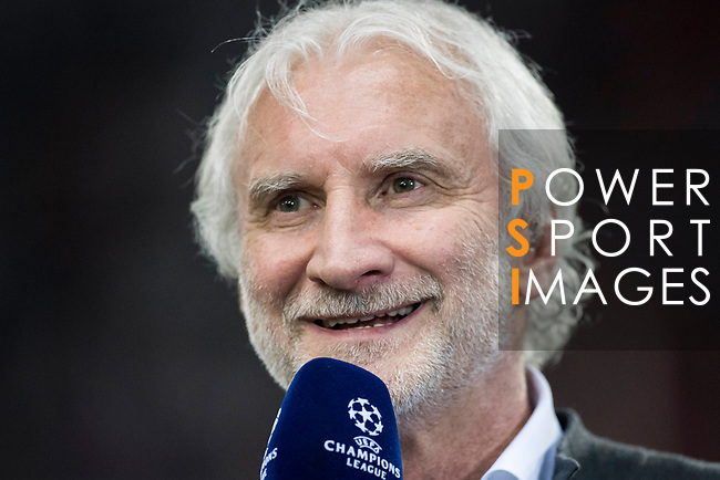 Rudi Voller, former German footballer, speaks prior to the 2016-17 UEFA Champions League Round of 16 second leg match between Atletico de Madrid and Bayer 04 Leverkusen at the Estadio Vicente Calderon on 15 March 2017 in Madrid, Spain. Photo by Diego Gonzalez Souto / Power Sport Images