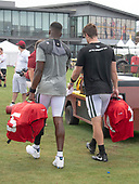 New York Jets quarterback Sam Darnold (14), right, and quarterback Teddy Bridgewater (5), left, carry their gear as they walk off the field after participating in a joint training camp practice with the Washington Redskins at the Washington Redskins Bon Secours Training Facility in Richmond, Virginia on Monday, August 13, 2018.<br /> Credit: Ron Sachs / CNP<br /> (RESTRICTION: NO New York or New Jersey Newspapers or newspapers within a 75 mile radius of New York City)